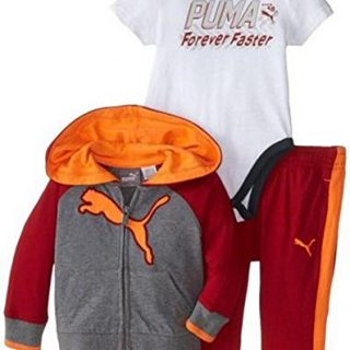 UMA Baby Boys' Faster 3 Piece Hoodie Set, Asphalt Heather, 18 Months