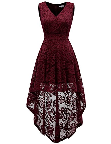 Dressystar 0022 Sleeveless Hi-Lo Lace Bridesmaid Dress Cocktail Party Dress M Burgundy