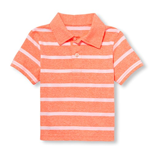 The Children's Place Baby Boys Short Sleeve Stripe Polo, Inferno Flame Neon 97443, 4T