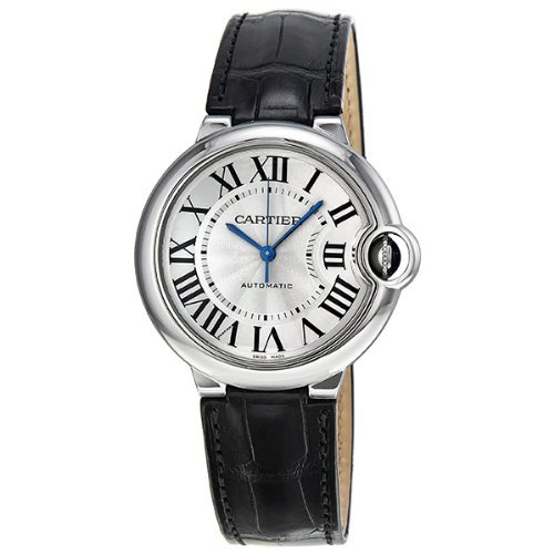 Cartier Ballon Bleu Automatic Silver Dial Stainless Steel Black Leather Ladies Watch