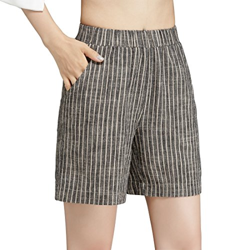Chartou Women's Casual Striped Elastic Waist High-Rise Cotton Linen Summer Shorts (Brown, 8)