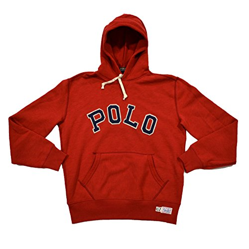 Polo Ralph Lauren Mens Graphic Pullover Hoodie (Large, Red Beret)