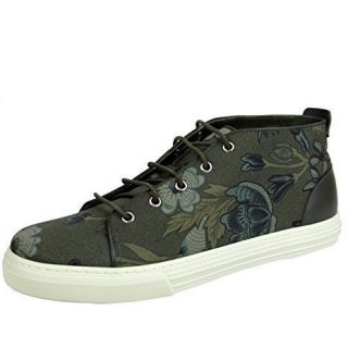 Gucci Men's Green Lace-up Floral Fabric Fashion Sneakers (10 US/9.5 G)