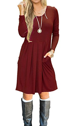AUSELILY Women's Long Sleeve Pleated Loose Swing Casual Dress with Pockets Knee Length (S, Wine Red)