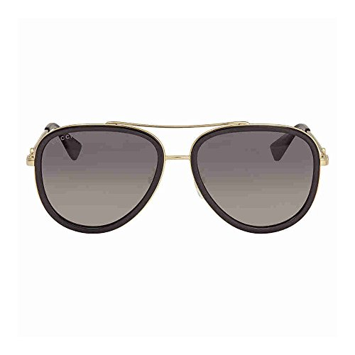 Gucci Black Gold Metal Aviator Sunglasses Grey Gradient Polarized Lens
