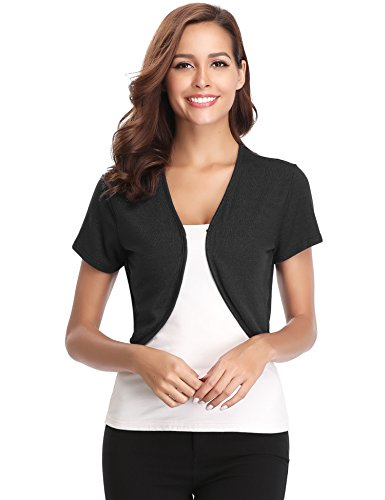 Abollria Women Short Sleeve Bolero Shrug Light Knit Cropped Cardigan Open Front Thin Jacket
