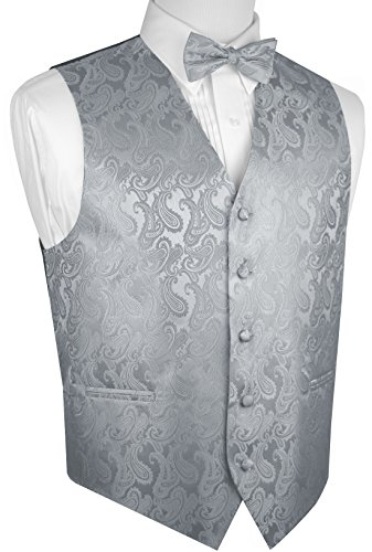 Brand Q Men's Tuxedo Vest and Bow-Tie Set-Silver Paisley-3XL