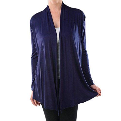 Azules Women's Rayon Span Draped Basic Cardigan (Large, Navy)