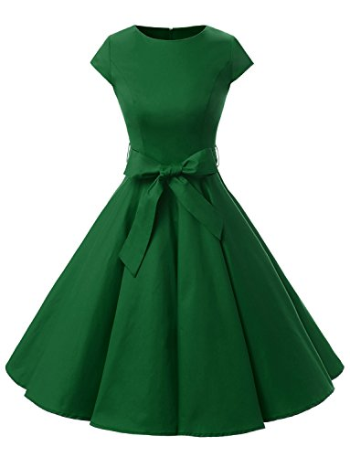 Dressystar Women Vintage 1950s Retro Rockabilly Prom Dresses Cap-Sleeve L Army Green