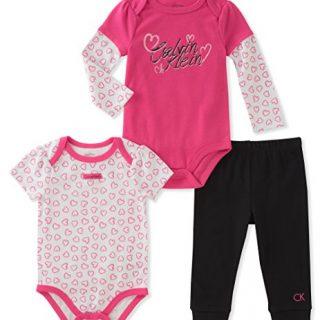 Calvin Klein Baby Girls' 3 Pieces Bodysuit Pant Set, Berry/Black, 3-6 Months