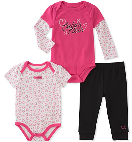Calvin Klein Baby Girls' 3 Pieces Bodysuit Pant Set, Berry/Black, 3-6 Months