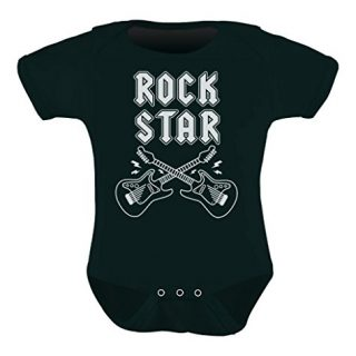Rock Star Unisex Infant Grow Vest Boy Girl Baby Bodysuit Newborn Black