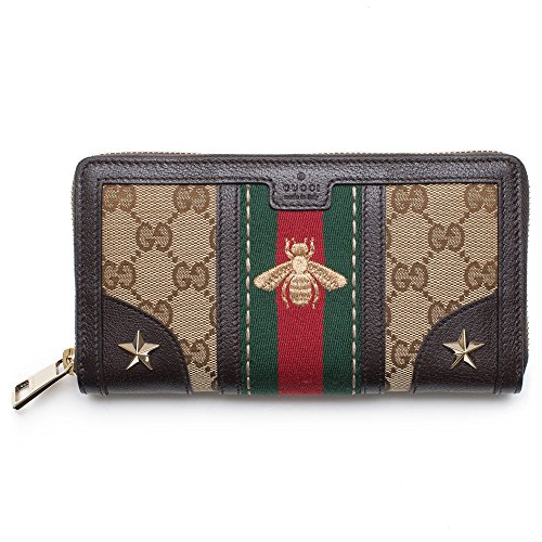 Gucci Bee Web Wallet Signature Star Box Leather Authentic New