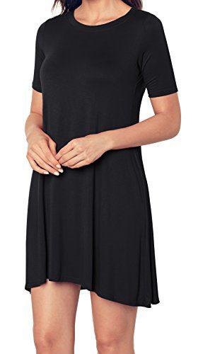 Aixy Women's Plain Simple Loose T-Shirt Casual Dress