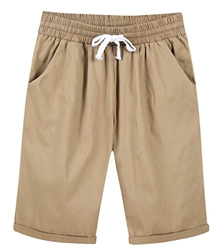 Chartou Women's Casual Elastic Waist Knee-Length Curling Bermuda Shorts (XX-Larger, Khaki)