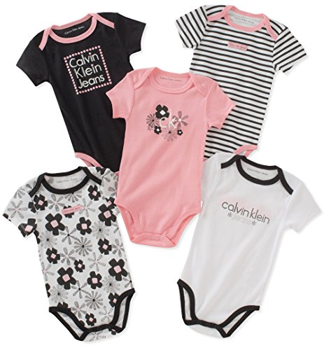 Calvin Klein Baby Girls 5 Pieces Pack Bodysuits, Black/Pink/White, 3-6 Months