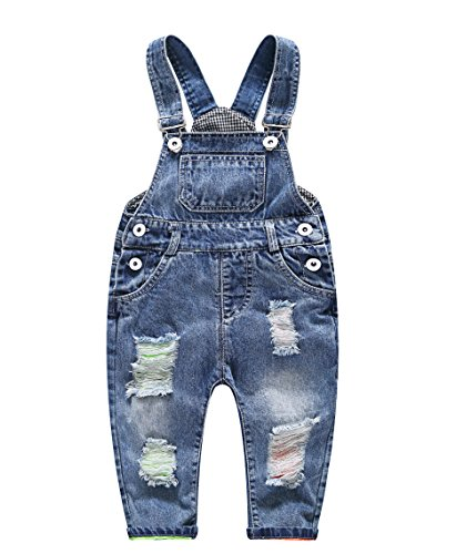 Kidscool Baby and Little Boys/girls Ripped Holes Bib Jeans Overall Blue 12 - 18 Months