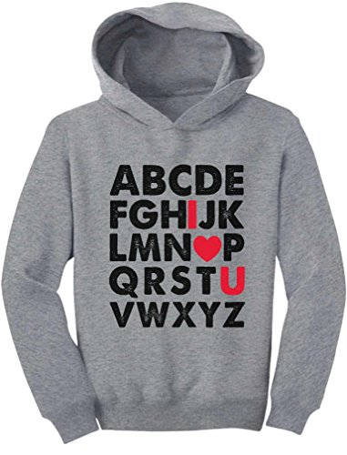 TeeStars - Valentine's Day Gift Alphabet ABC I Love You Toddler Hoodie 4T Gray