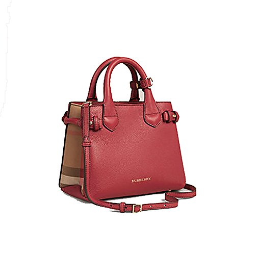Tote Bag Handbag Burberry The Baby Banner in Leather and House Check Ink Russet Red Item 40140751