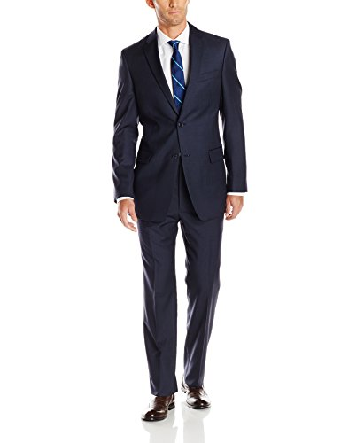 Tommy Hilfiger Men's Nathan Light Pinstripe 2-Button Side Vent Suit, Navy Stripe, 44 Long