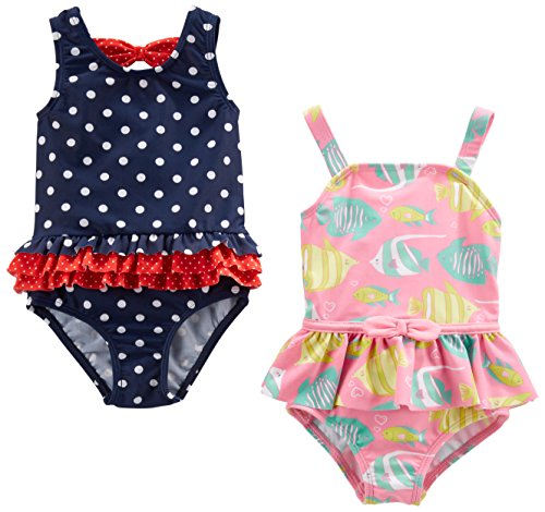Simple Joys by Carter's Baby Girls' 2-Pack One-Piece Swimsuits, Navy Dot/Pink Fish, 3-6 Months