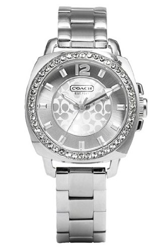 Coach Womens Mini Boyfriend Silver Tone Bracelet Watch