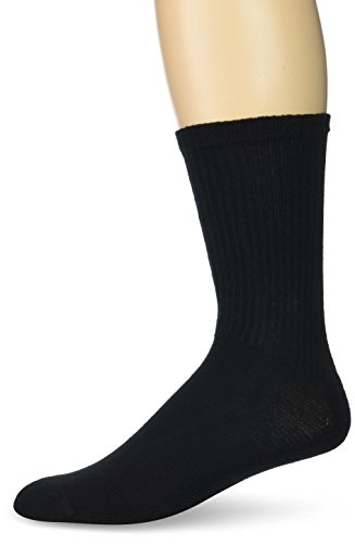 Gildan Men's Stretch Cotton Crew Socks, 12-Pack, Black, Shoe Size: 6-12