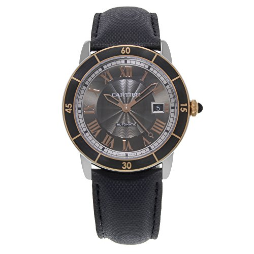 Cartier Ronde Croisiere Black Dial SS Leather Automatic Men's Watch