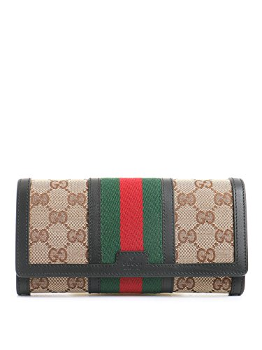 Gucci Web Beige Gg Canvas/Brown leather Long Wallet Zip Around