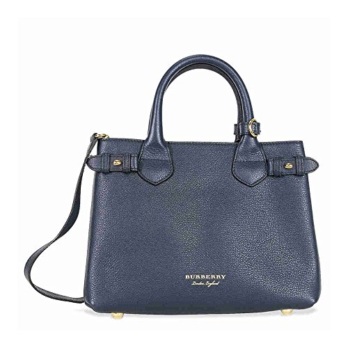Burberry Small Banner House Check Leather Tote - Ink Blue