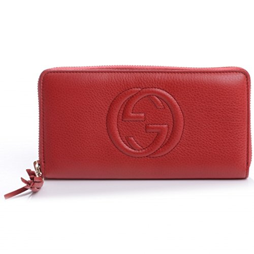 Gucci Soho Red Tabasco Leather Wallet Zip around Box Continental Italy New