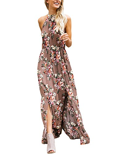Asvivid Juniors Bohemian Floral High Neck Sleeveless Cotton Casual Loose Summer Beach Maxi Dresses L Flower17