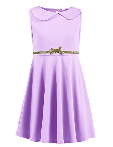 Arshiner Girls Sleeveless Doll Collar Dress Solid Color A Line Peter Pan Collar Cotton Dress, Purple, 120(Age for 6-7Y)