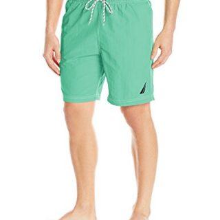 Nautica Men's Solid Quick Dry Classic Logo Swim Trunk, Mint Spring, Medium