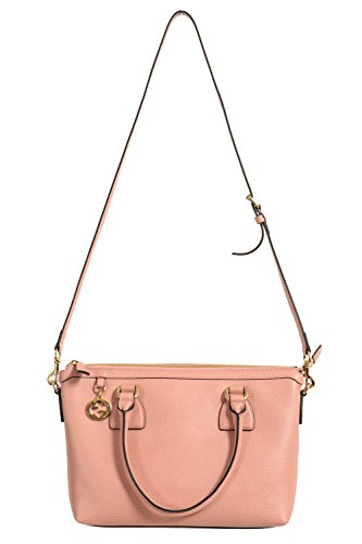 Gucci Women's Pebbled Leather Pink Satchel Handbag Bag