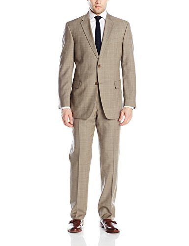 Tommy Hilfiger Men's Two Button Side Vent Suit, Brown, 40 Regular/34 Waist