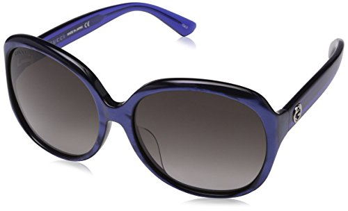 Gucci Design Sunglasses Gradient Shiny Pearled Blue Transparent Frame With Gradient Grey Lens