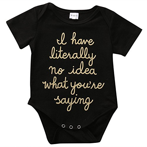 BiggerStore Funny Newborn Baby Boys Girls Golden Letter Printed Summer Black Romper Bodysuit Outfit (3-6 Months)