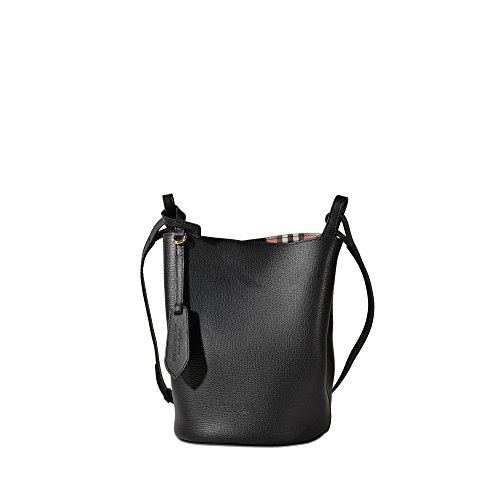 Burberry Women's Leather and Haymarket Check Crossbody Bucket Bag Black