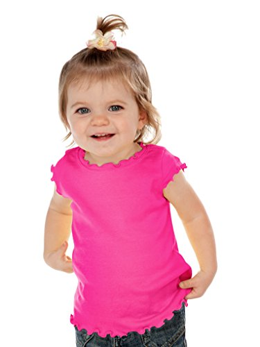 Kavio! Infants Lettuce Edge Scoop Neck Cap Sleeve Top Hot Pink 18M
