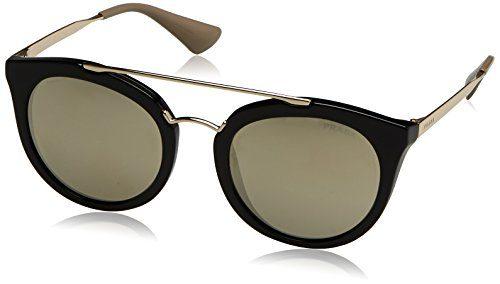 Prada Women's Sunglasses Black / Grey Mirror Silver Gradient 52mm