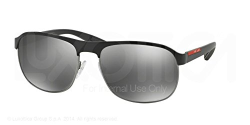 Prada Linea Rossa Men's Black/Gunmetal Rubber/Grey Silver Mirror Sunglasses