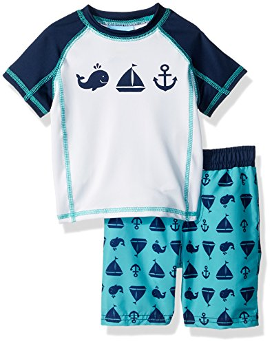Baby Buns Baby Boys Two Piece Come Sail Away Rashguard Swimsuit Set, Multi, 24M