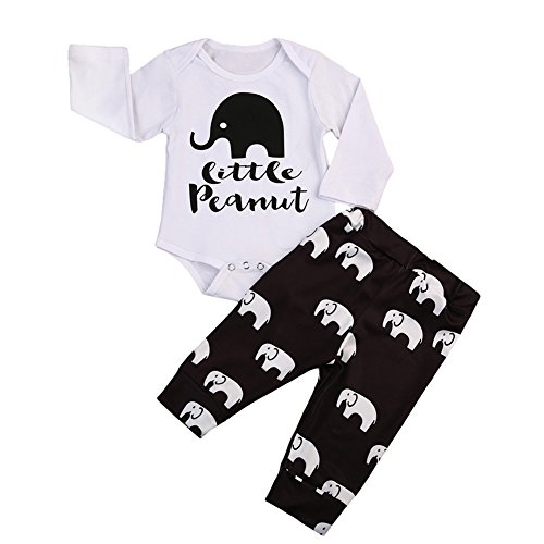 BiggerStore 2Pcs Infant Newborn Baby Girls Boys Long Sleeve Elephant Bodysuit Romper+ Long Pants Outfit Clothes Set (6-12 Months, White+Brown)