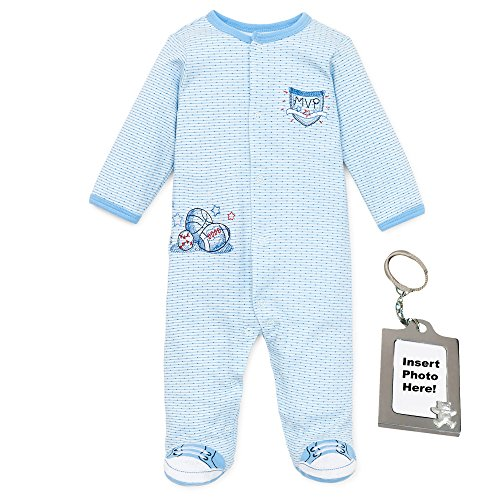 Little Me Baby Sleep N Play Sports Footie Johnny Sneakers Keychain Blue 6 mths