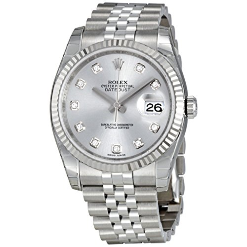 Rolex Datejust Rhodium Diamond Dial 18kt White Gold Fluted Mens Watch