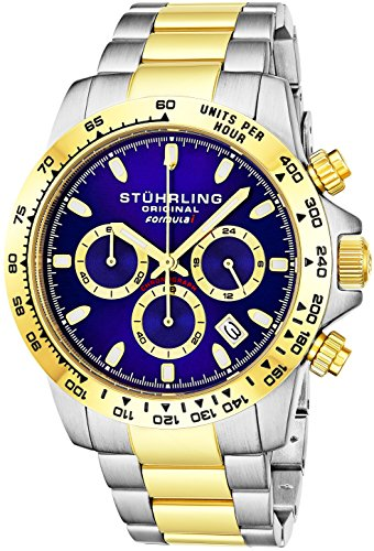 "Stuhrling Original Mens Sport Chronograph Watch - Stainless Steel Brushed Matte Bracelet, 891 Formula ""i"" Watches Collection (Two Tone Gold)"