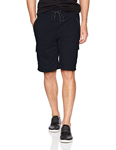 Southpole Men's Fleece Jogger Shorts, Navy/Tech Fleece, Large