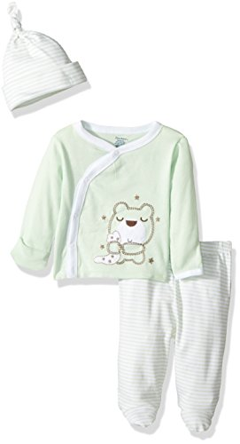 Gerber Baby 3 Piece Side Snap Mitten Cuff Shirt, Footed Pant & Cap, Bear, 0-3 Months