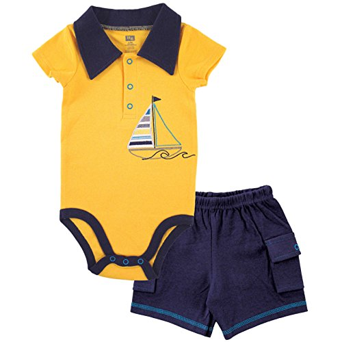 Hudson Baby Baby Boys Sleeve Bodysuit and Cargo Shorts, Sailboat, 12-18 Months